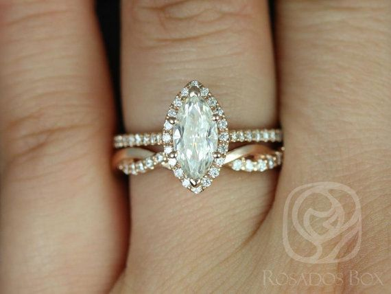 Sasha 10x5mm & Dusty 14kt Rose Gold Marquise FB Moissanite and Diamonds Halo Wedding Set (Other metals/stone available)