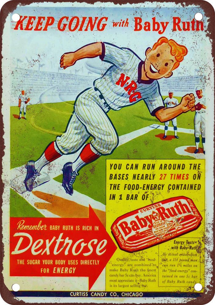 Baby Ruth and Baseball Vintage Look Reproduction Metal Sign