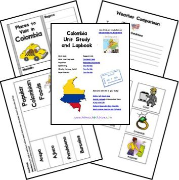 Colombia Country Unit Study and Lapbook   printables by Ami     Be sure to visit our   Colombia Lapbook board on Pinterest!