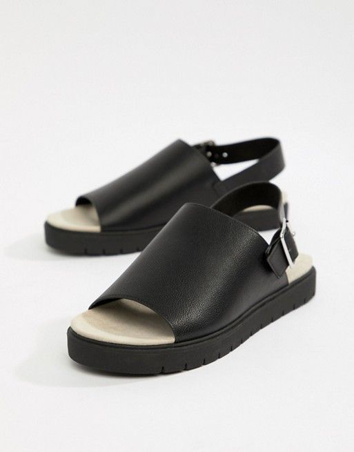 Monki slip on ankle strap sandal in black | Ankle strap