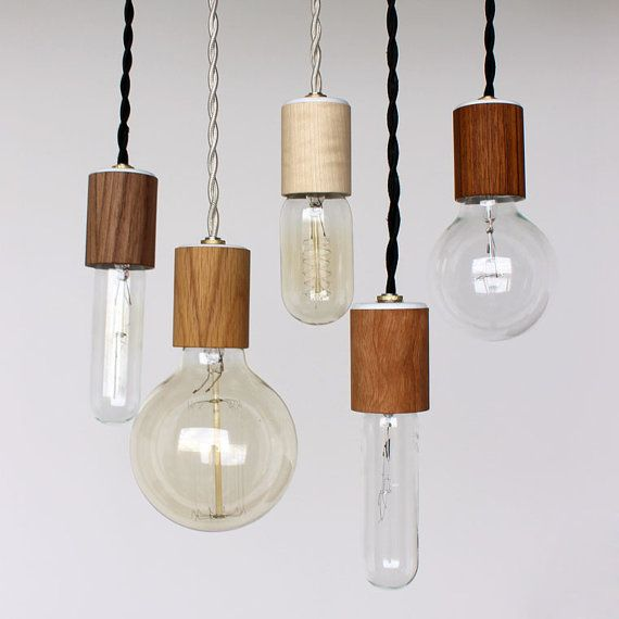Wood veneered pendant light with bulb by onefortythree on Etsy, $45.00
