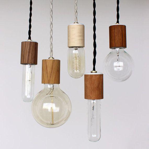 Wood veneered pendant light with bulb. #AmandaJaneJones