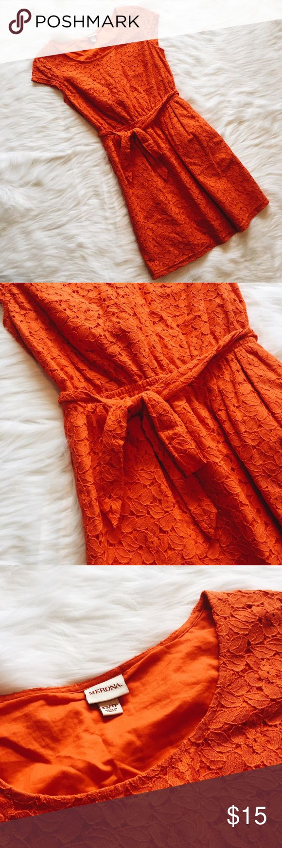🆕 Merona Orange Lace Dress Merona Orange Lace Dress. Short sleeves, all-over lace detail, waist belt that can be tied in the front or back. Excellent used condition - no flaws. Smoke free home :) ask questions and bundle bundle bundle! No model requests please. Merona Dresses Mini