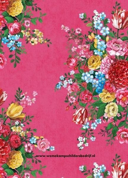 Pip 341041 Dutch Painters roze eijffinger pipstudio behang vliesbehang bloemen  www.wemekampschildersbedrijf.nl
