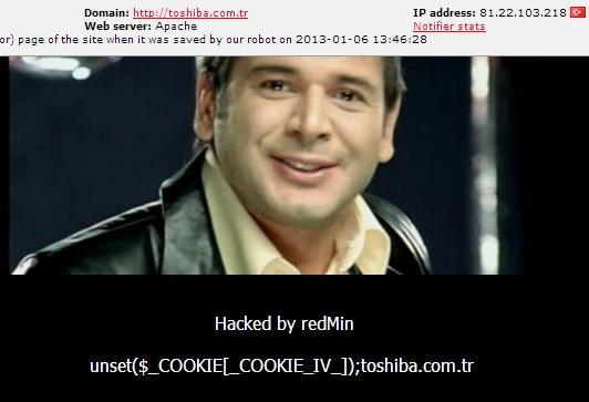 Toshiba Turkey Website got hacked
