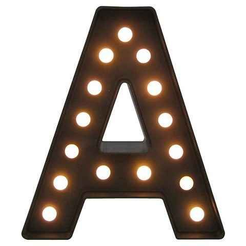 A marquee letter that lights up.