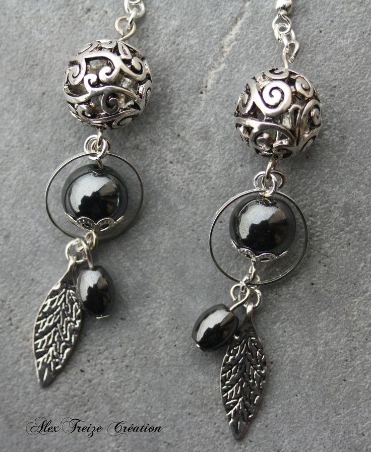 Boucles d'oreilles argentées Perles filigranées Intercalaires anneaux Perles semi-précieuses Hématite Pendentifs argentés feuille
