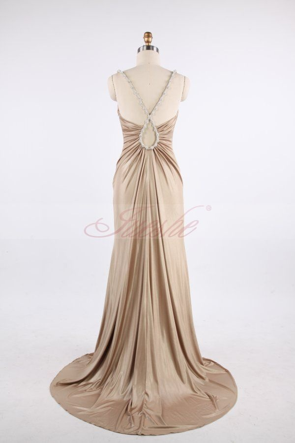 Tight-fitting V-neck Sweep Train Champagne Stretch Satin Prom/Evening Dress JSLD0102