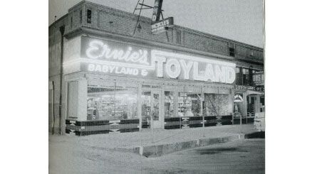 ERNIE'S TOYLAND (418 Fourth Street).  Owner Ernie Coopman made this store into every child's delight.  Both Coopman Jr. and Sr. truly knew the toy business, making Ernie's Toyland Marysville's finest and largest toy store; it stocked everything from babyland to bicycles on the second floor.  The store later moved to Yuba City before finally closing in the 1980s.