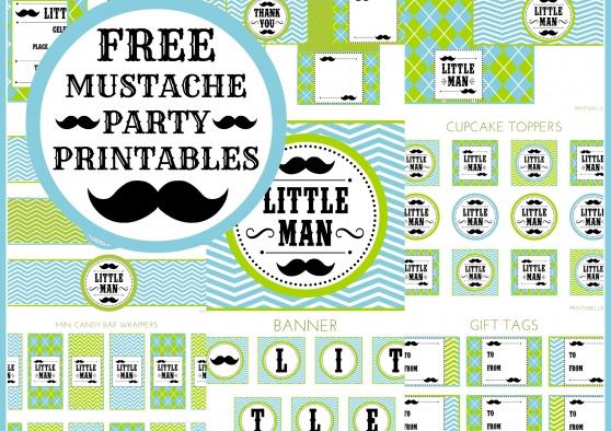 Free Set of Little Man Mustache Printables