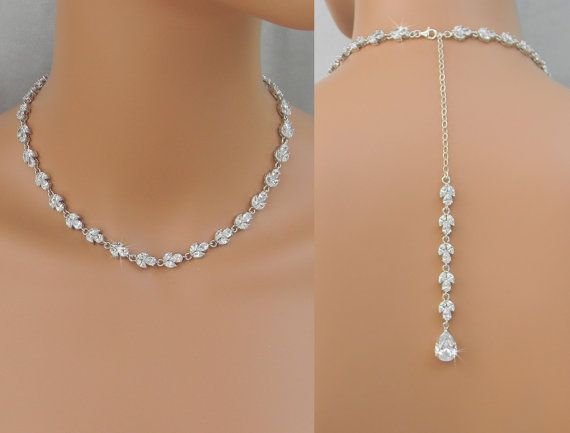 Back Drop Bridal Necklace, Crystal Backdrop Necklace, Wedding necklace, Bridal Jewelry, Melonie Bridal Necklace on Etsy, $102.00