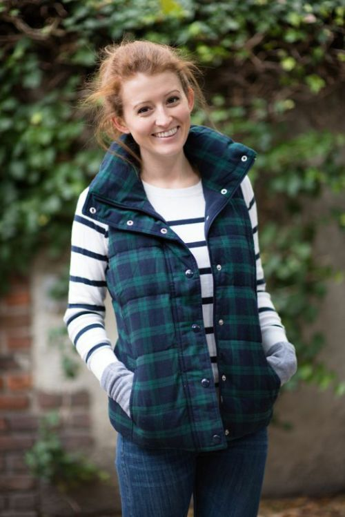 Mackenzie Horan perfects the mix print look in an Old Navy Plaid vest and striped long sleeve. | Source: http://www.mackenziehoran.com/2014/11/14/outfit-old-navy-plaid-vest/