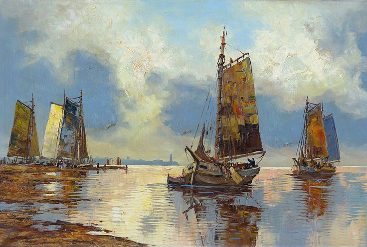 Ships Oilpainting von A.S Creation. Wirz Tapeten