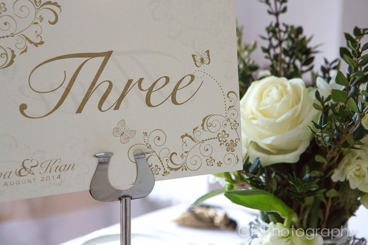 Printed and personalised table numbers.  We can also print table names to match your theme.  For example we could personalise each table with butterfly names. By www.fuschiadesigns.co.uk