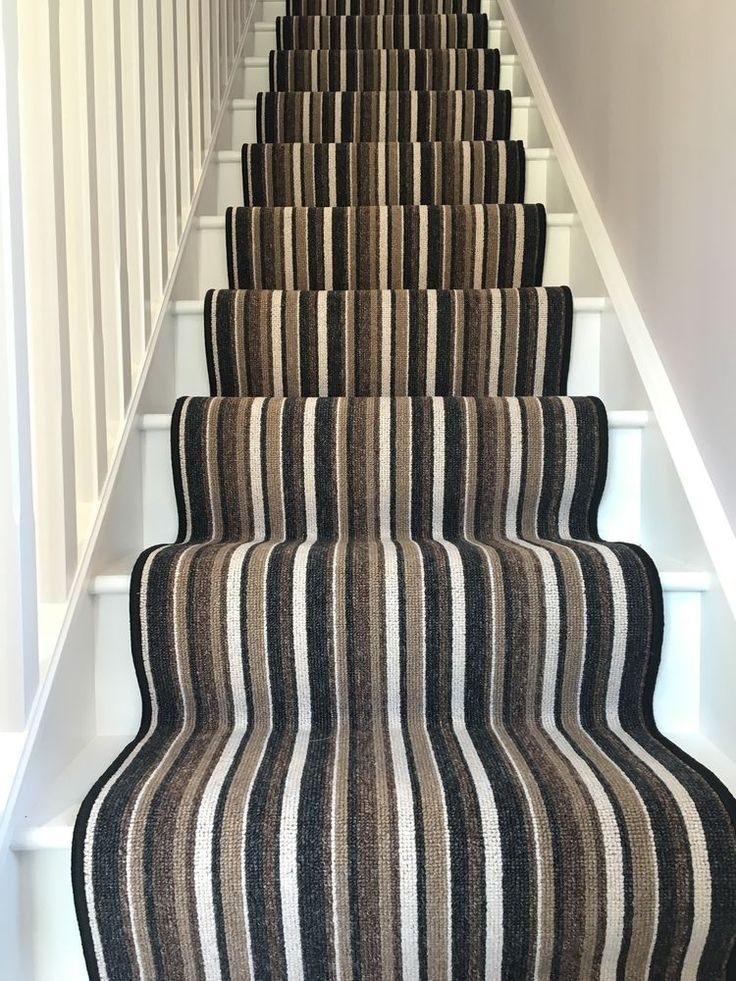 Made to measure carpet runner stair runner stripe Cream brown black cut to size