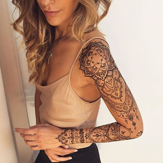 Stunning Henna Tattoo For Shoulder And Arms. #Henna #Mehndi #WomenTriangle