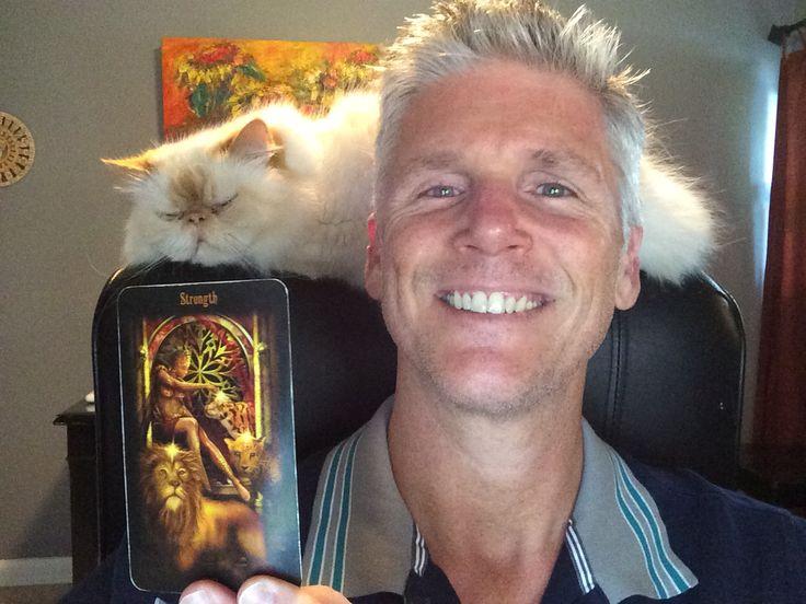 #WorldTarotDay selfie. Me, Strength Card & #Sebastian
