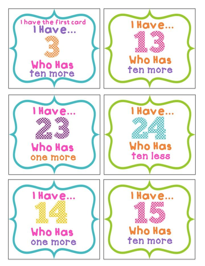 I Have Who Has Ten More, Ten Less, One More, One Less  http://www.teacherspayteachers.com/Product/Ten-MORE-Ten-LESS-One-MORE-One-LESS-1658896