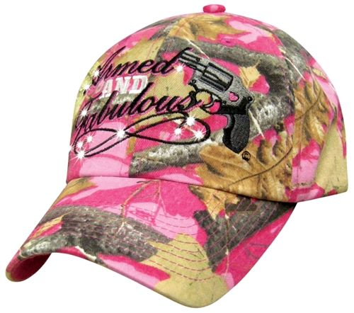 """Haha! Great saying on a great hat! """"Armed and Fabulous"""" on pink camo gun hat. Available at www.texcynwallets.com #gunrights #ladyshooter #badasslady"""
