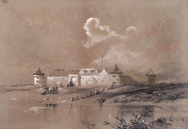 "Manitoba - Henry James Warre, ""Fort Garry, Winnipeg,"" (1848), showing the south gate."