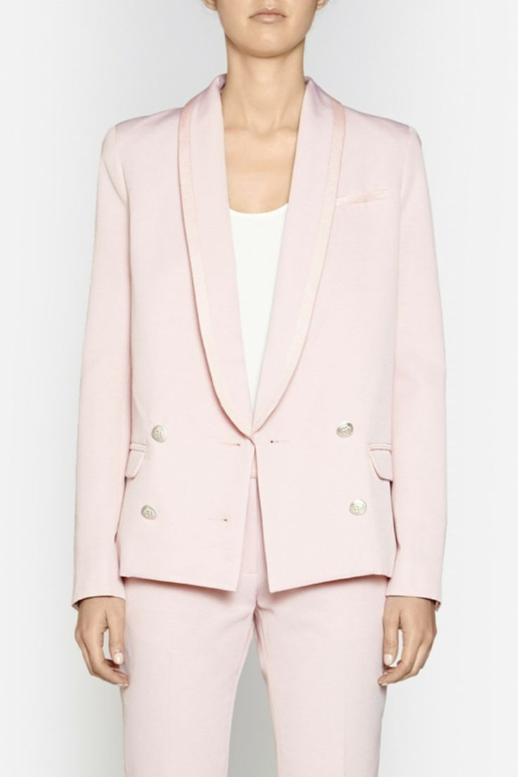 Camilla and Marc | MANIFESTO BLAZER  US$630.45 Structured blazer designed in fine ribbed fabric with contrasting textured edges. Created in a streamline silhouette, this piece features a thin collar and lapels, faux front pockets, defined shoulders and a series of silver buttons at the front. Fully lined.