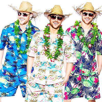 Hawaiian Suit Mens Fancy Dress Beach Hula Party Tropical Adults Hawaii Costume
