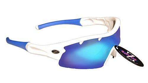 UK Golf Gear - RayZor Professional Lightweight UV400 White Sports Wrap Golf Sunglasses, With a 1 Piece Vented Blue Iridium Mirrored Anti-Glare Lens.