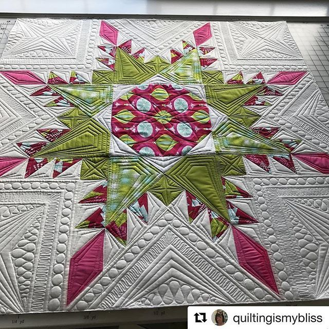 """Now that my heart rate has returned to normal... I'd like to show you what Teresa @quiltingismybliss (AKA one of my fave Instagrammers) did with the #fiercefeatheredstar pattern! I'm pretty sure this is WHY the kids invented """"I can't even...""""  This is a 36"""" block, so boom: baby quilt or what have you. Find the pattern via my profile link! Thank you so much for sharing this photo, Teresa!!"""