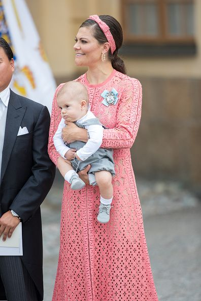 Crown Princess Victoria attends the christening of Prince Alexander of Sweden at…