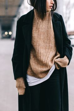 camel sweater, black coat, winter style, layers