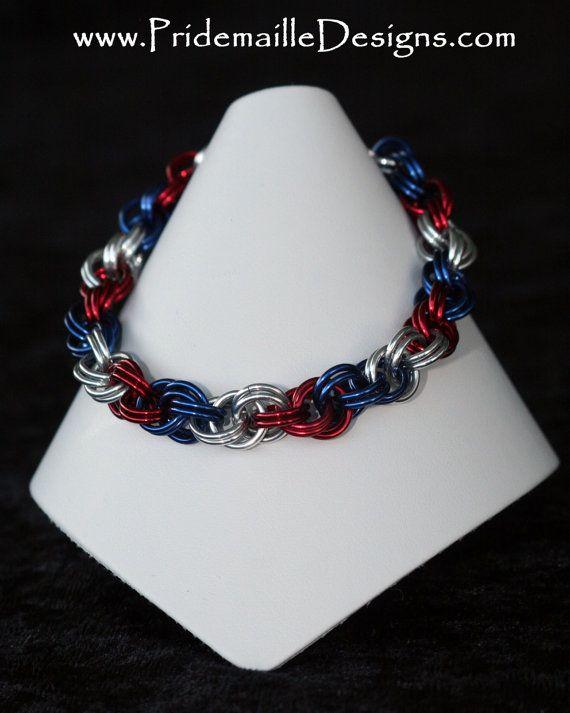 Double Spiral Patriotic Bracelet - Anodized aluminum rings - $20