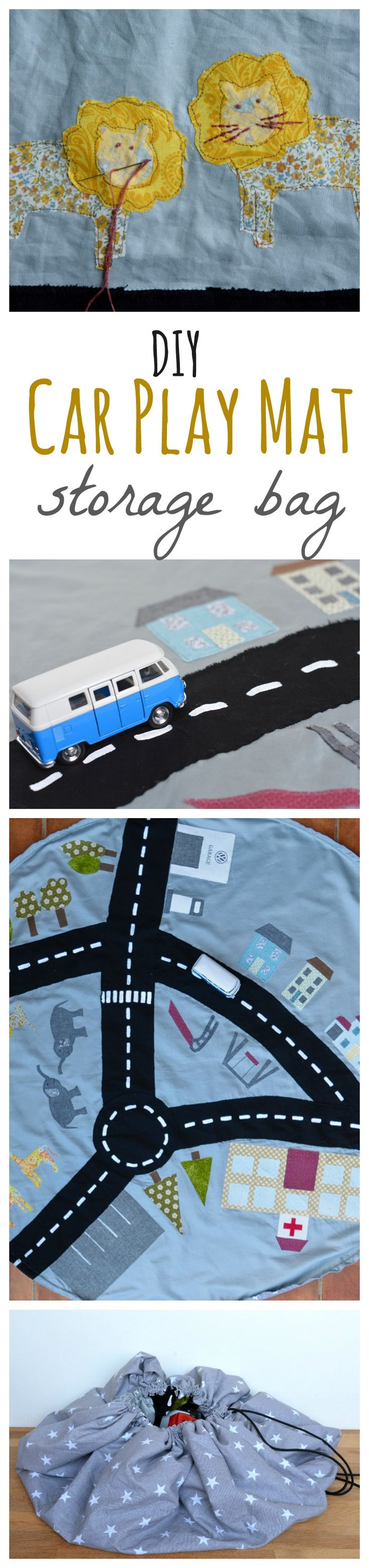 "Create a fun car play mat, doubles as storage bag - full tutorial on the blog with free downloadable templates. Volkswagen, vickymyerscreations and many other bloggers share even more inspiration in the ""DIY Bloggers for Volkswagen""-board: https://uk.pinterest.com/volkswagen/diy-bloggers-for-volkswagen/"