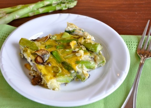 Asparagus and mushroom frittata. Cooks in the over, once you cook the ...