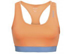Sportovní podprsenka Reebok ve výrazné meruňkovo modré barvě. Krátká sportovní podprsenka poskytující maximální podporu v průběhu intenzivního cvičení.