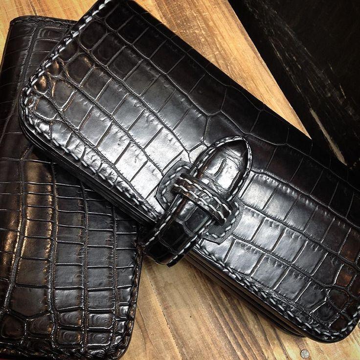 大輔 クロコダイルウォレット #革物工房大輔#クロコダイル#サドルレザー#ウォレット#革キチ#ギフト#leather#leathercraft#handmade#madeinjapan by ueno_kawakichi