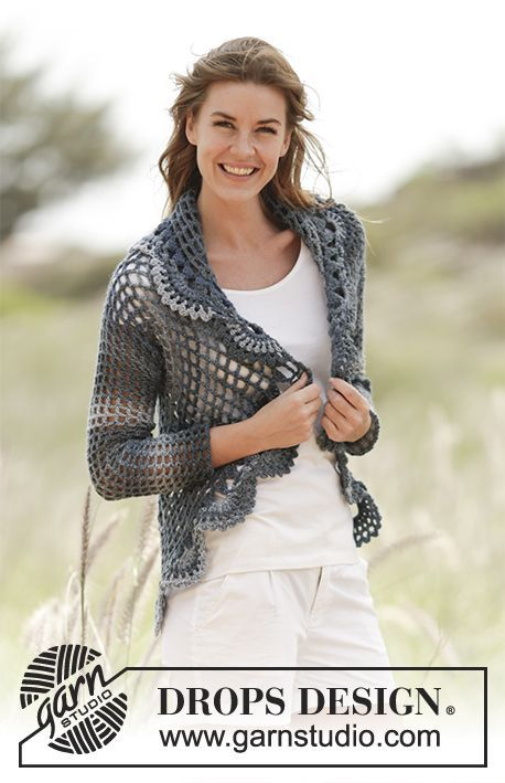 "Evening Tide - #Crochet DROPS jacket worked in a circle in ""Big Delight"". Size S-XXXL. - Free pattern by DROPS Design"
