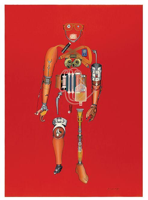 Mechanical Man (1986). 48″x72″ Oil on Canvas.    #machine #art