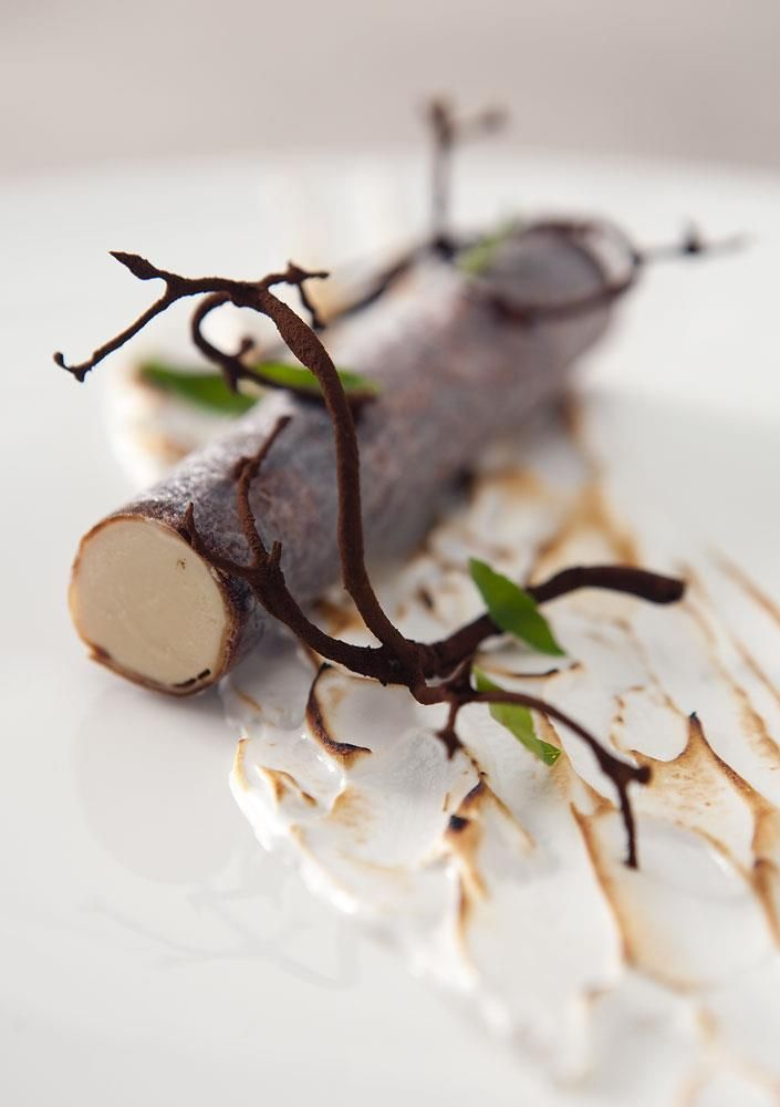 """Birch Tree"" with malt branches and Autumn leaves on baked meringue. By Nordic Star Chef Ronny Emborg of Restaurant AOC in Copenhagen. #plating #presentation"