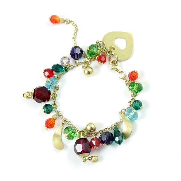 Intensely colourful Swarovski crystals and gold-plated silver. Joyful and sparkling! Diuu
