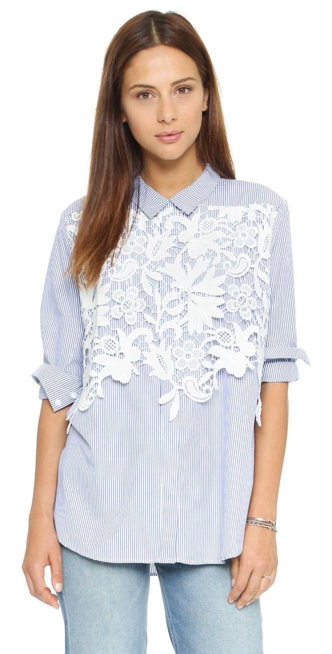 endless rose Lace Placket Button Down Shirt | SHOPBOP