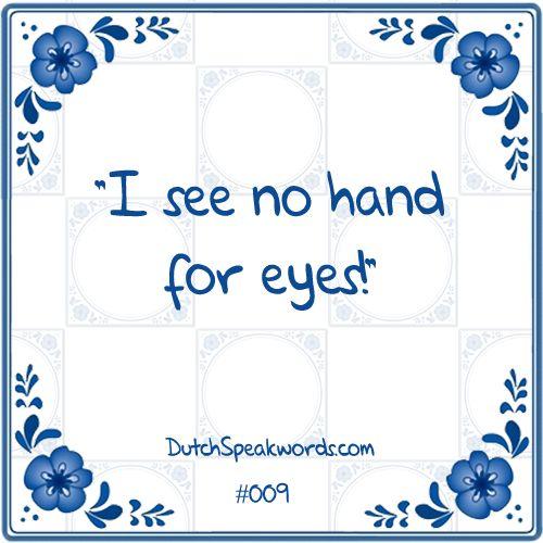 Dutch expressions in English: ik zie geen hand voor ogen