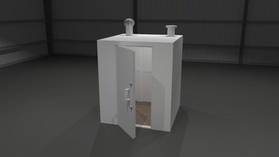 This safe room can be installed inside an under construction home/building, or outside. It is anchored to the foundation using heavy anchor bolts that go through the bottom of the shelter. If the safe room is inside a home/building, it can be fitted for air ducts and inlets for electric lines, cable, telephone lines, ect.. If it is for outside we can fit the safe room with an 8″ turbine and 8″ vent (as shown in our 3d illustrations).