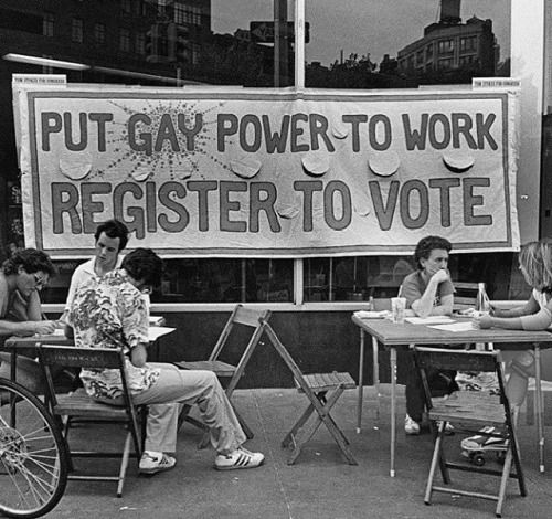 """PUT GAY POWER TO WORK: REGISTER TO VOTE,"" voter registration drive, New York City, c.1980. Photo by Jill Freedman, c/o GETTY. #lgbthistory #lgbtherstory #lgbttheirstory #lgbtpride #QueerHistoryMatters #HavePrideInHistory #VoterRegistrationDay (at..."