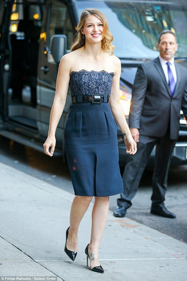 Big debut: Supergirl star Melissa Benoist looked pretty as she headed into The Late Show studios ahead of her new show's debut on CBS on Monday