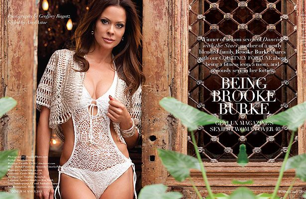 Brooke Burke Charvet smolders in crochet in the summer 2013 issue of Genlux magazine
