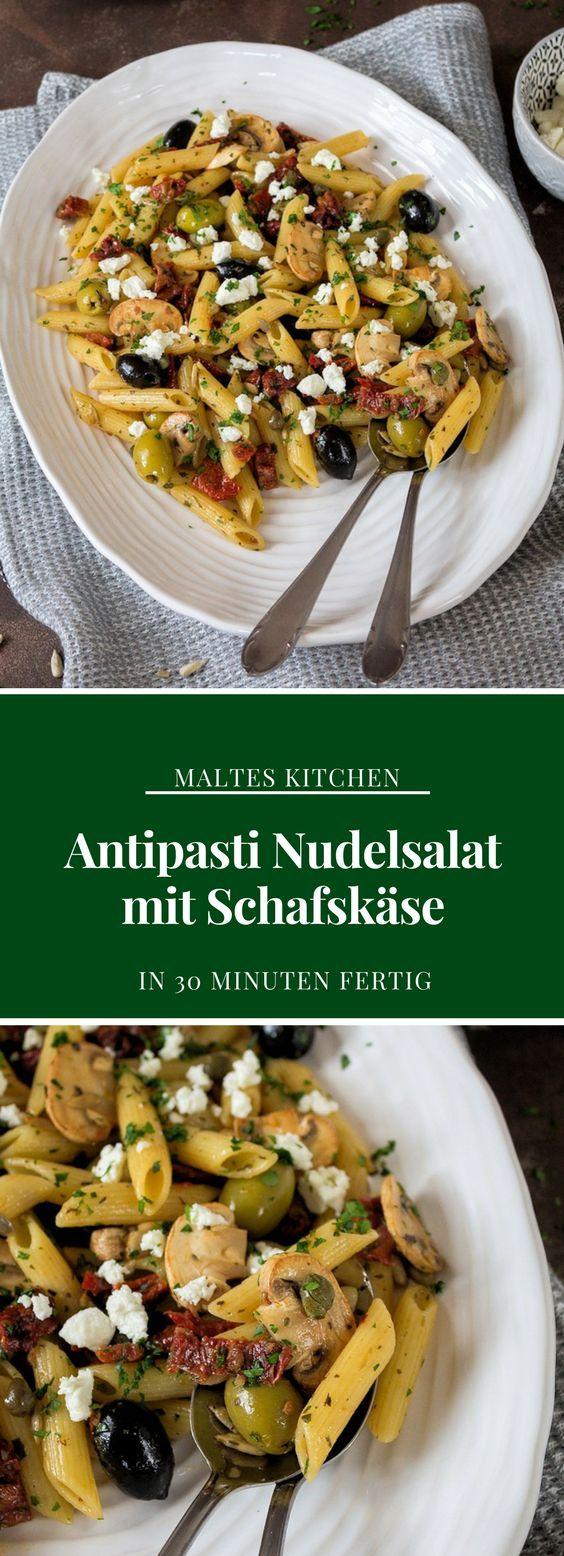 Antipasti Nudelsalat mit Schafskäse | #Rezept von malteskitchen.de