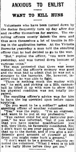 WWI, 19 Nov 1916, The Sun, Sydney.