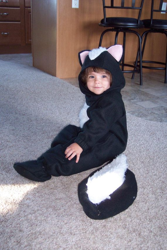 This skunk costume can be made in all childrens sizes.It can be made of flannel or fleece and with or without feet. It features a back zipper,