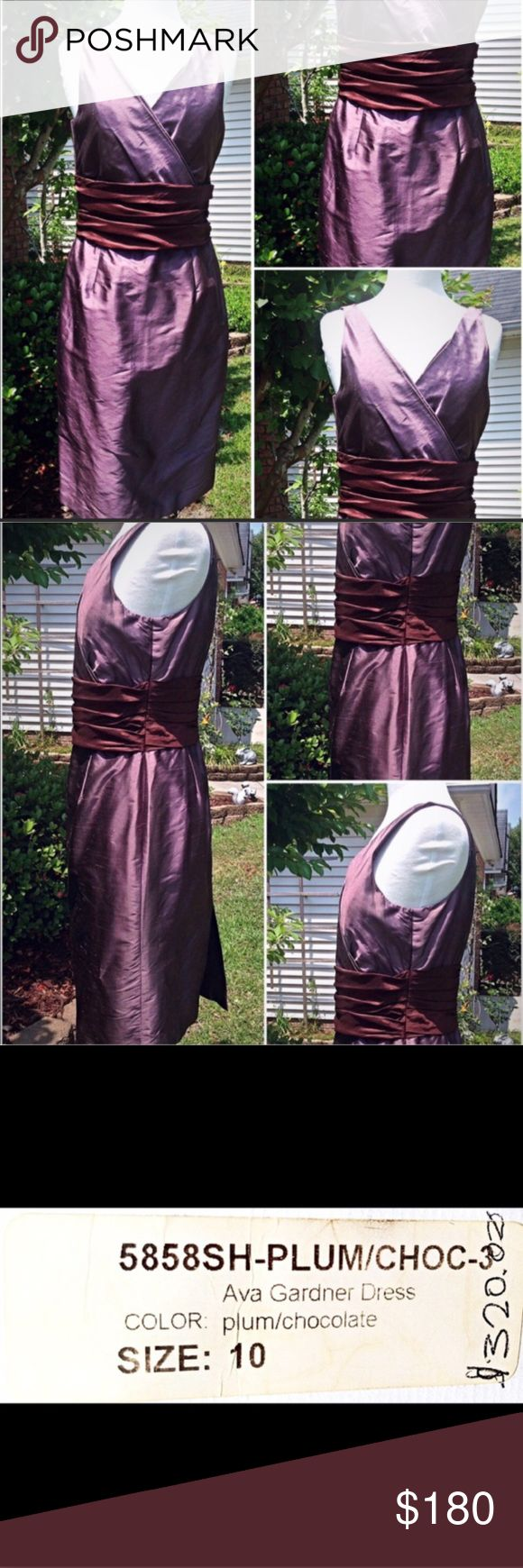 """NWT Siri Ava Gardner Plum & Chocolate Silk Dress Gorgeous Classic Design! Siri Brand Based Out Of San Francisco, CA. NWT Ava Gardner 100% Luxe Shantung Indian Silk Plum With Chocolate Ruched Wide Waist Band Sleeveless Special Occasion Dress. Stunning Color Combination, Extremely Figure Flattering For All Body Shapes (examples provided), V-Shape Neckline Front & Back, Back Slit, Exquisite Tailoring, Excellent Condition No Color Fade, No Stains Or Spots. Size 10 Bust 38""""/Rib Cage 32.5""""/Waist…"""