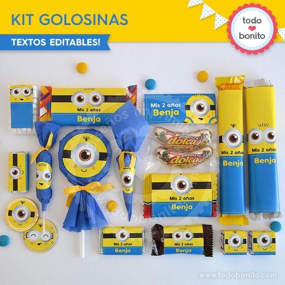 Minions: kit etiquetas de golosinas